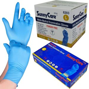 (10 x 100) BLUE VINYL POWDERED LARGE GLOVES
